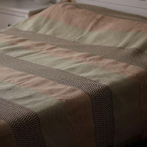 SAHARA Handwoven Silk and Wool Blanket-Blanket-Anatoli.co-Green, tan and brown-Anatoli.co