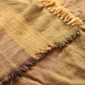 SAHARA Handwoven Silk and Wool Blanket-Blanket-Anatoli.co-Mustard-Anatoli.co