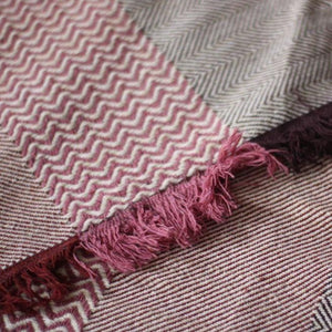 SAHARA Handwoven Silk and Wool Blanket-Blanket-Anatoli.co-Pink, maroon and purple-Anatoli.co