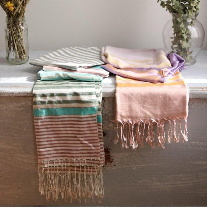 STRIPES Silk Scarf-Scarf-Anatoli.co-Green and purple-Anatoli.co