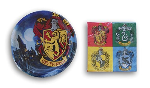 Harry Potter Gryffindor Birthday Party Supply Kit - Paper Plates and Napkins for 8