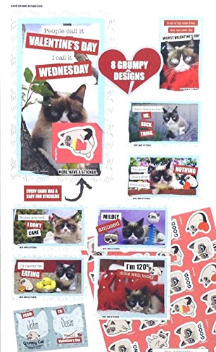 Grumpy Cat 32 Valentines Day Exchange Cards With 32 Stickers Ictoys