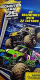 Monster Jam Trucks 32 Valentines Exchange Cards With 32 Tattoos