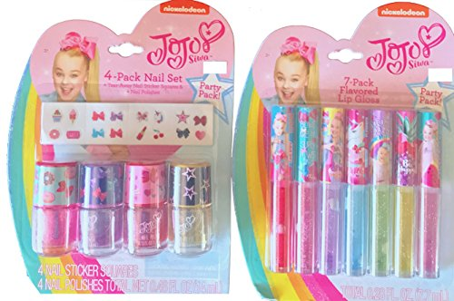 JoJo Siwa 7 Pack Flavored Lip Gloss & 4 Pack Nail Set