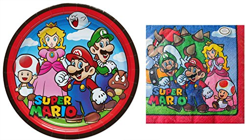 Super Mario Bros Cartoon Party Supply Kit - Plates and Napkins for 8