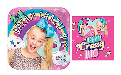 JoJo Siwa Party Supply Paper Plates and Napkins Bundles for 8