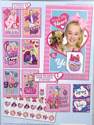 Jojo Siwa 32 Valentine Exchange Cards With 32 Glitter Tattoos Ictoys