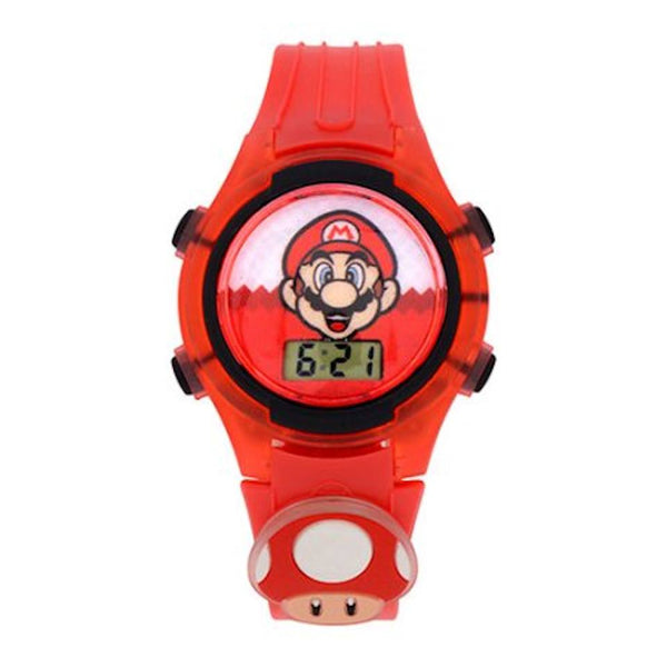 Super Mario LCD Kids Watch with Flashing Dial and Light-Up Mushroom Icon