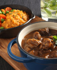 Spring Lamb Casserole with Sweet Potato Mash and Veg