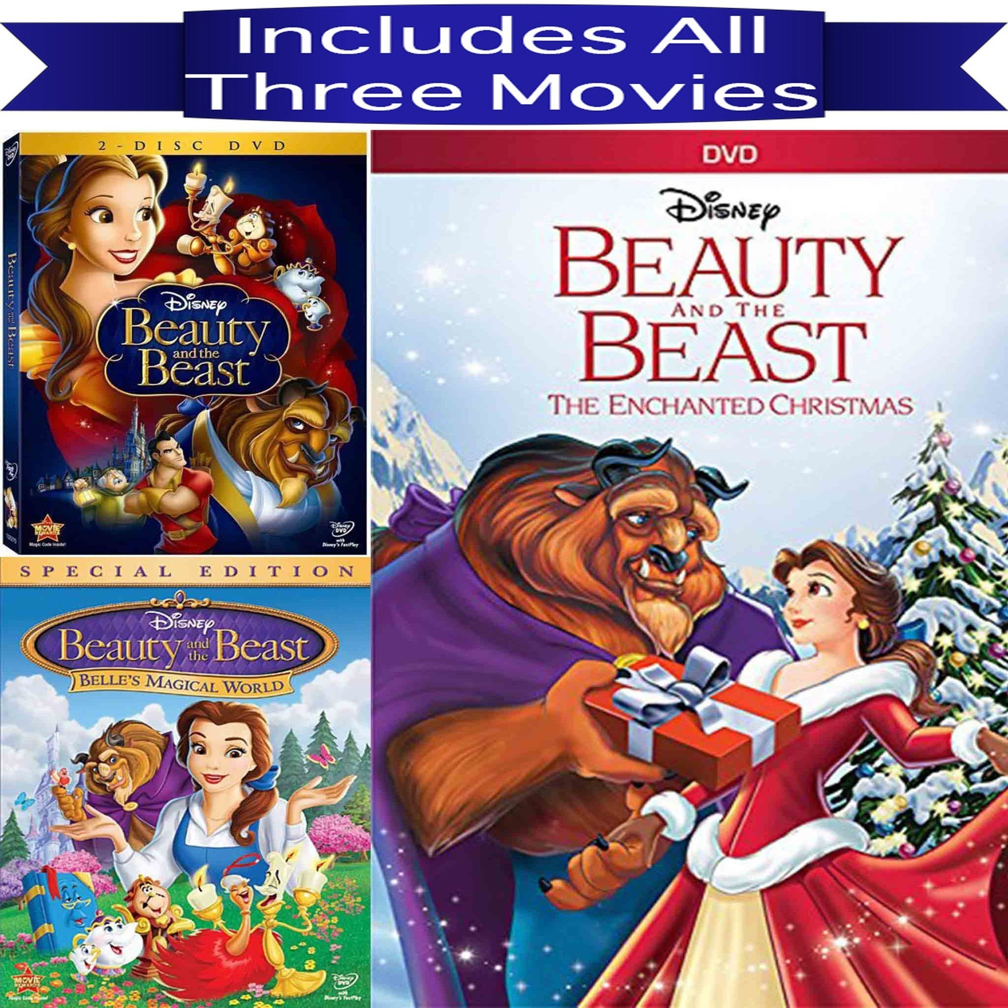 Walt Disney's Beauty & The Beast DVD Set 3 Movie Collection Walt Disney DVDs & Blu-ray Discs > DVDs