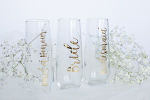 Bridal Party Stemless Champagne Flutes