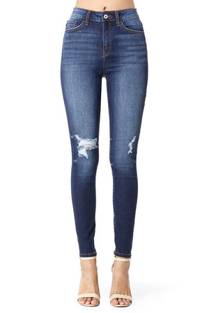 High Rise Distressed Knee | Kan Can