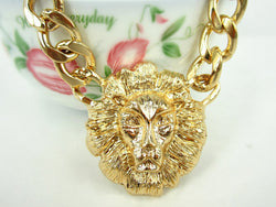 King and Queen of the jungle GOLd LIoN Head Necklace 2 for one PrICE ELVIs RIANa..***ATTENTIOn*** FASt***FREE***SHIPPING** HURRY!!! **