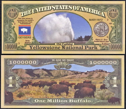 Yellowstone BUFFALo Million dollar novelty Bill  Desert Grand Canyon National Park ...