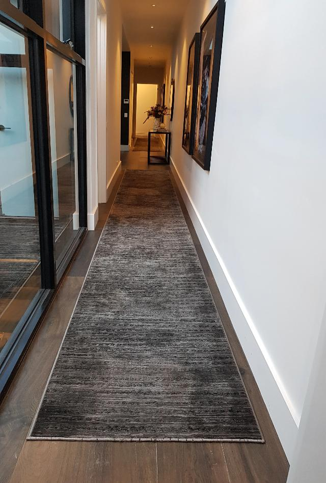 Madrid Dots Charcoal | Customized Length Hall Runner | $69 per metre