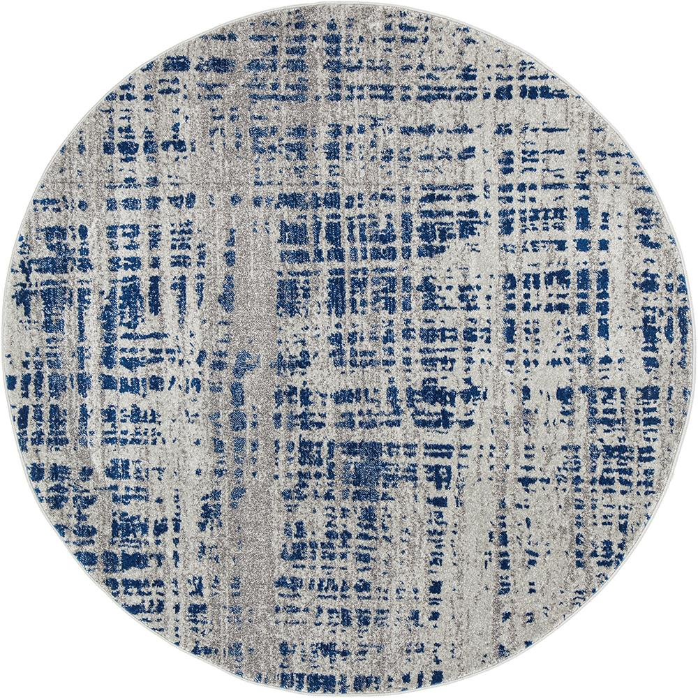 Mirage Abstract Modern Blue Grey Round Rug Rug Addiction