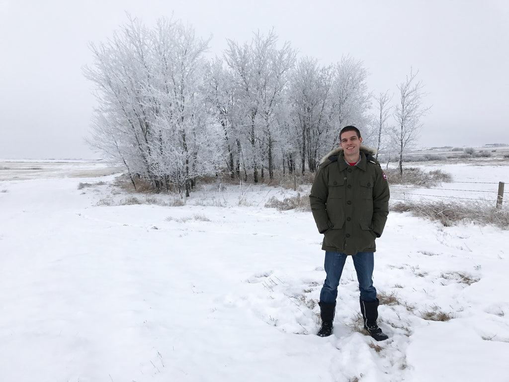 JB Lombaard, the CEO of Cavelight, standing in the snow in canada