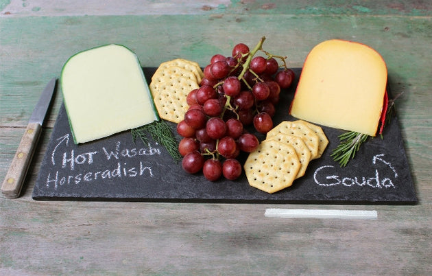 Natural Slate Cheese Board Appetizer Serving Plate (8 x 16) & Natural Slate Cheese Board Appetizer Serving Plate (8 x 16 ...