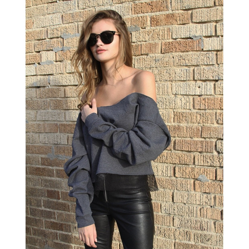 No Boundaries Off The Shoulder Sweatshirt
