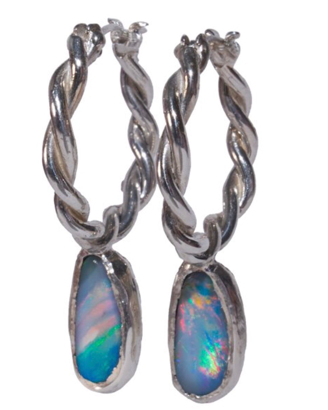 Aussie Opal Hoops (available in gold or silver)