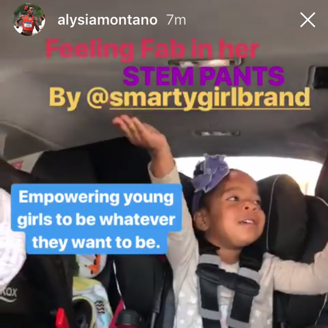 Alysia Montaño, Olympic athlete and pregnant runner, daughter in Smarty Girl brand airplane toddler girls clothes leggings pink purple pants kids feminism