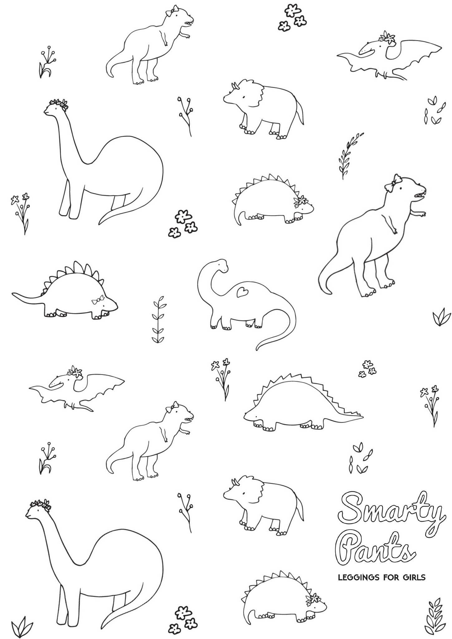 Printable Dinosaur Coloring Page Smarty Pants Toddler Girl