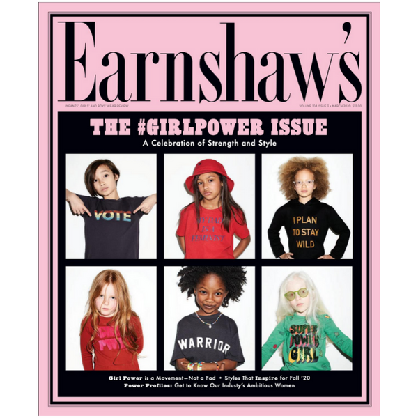 Earnshaw's Children's Fashion Magazine Girl Power Rising Article Smarty Girls Leggings brand company style clothing science clothes stem apparel line business Emilee Palomino Wichita Kansas children kid kids baby infant toddler New York female empowerment feminism feminist empower pants shirt dress childrenswear