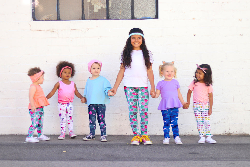 Smarty Girl brand leggings next collection Kickstarter astronaut/space sloth robot vehicle/car narwhal/whale