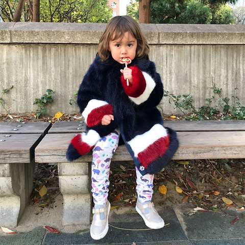Instagram Fashion Director Eva Chen's Daughter Ren in NYC in Smarty Girl Leggings