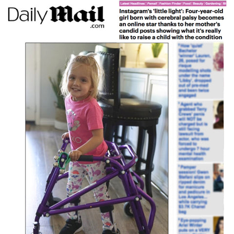 Fifi and Mo cerebral palsy Instagram star Daily Mail in dinosaur leggings Smarty Girl