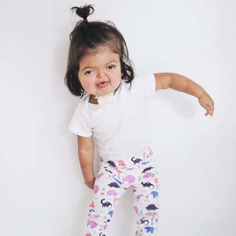 Meg Apperson's Avery daughter in Smarty Girl dinosaur leggings