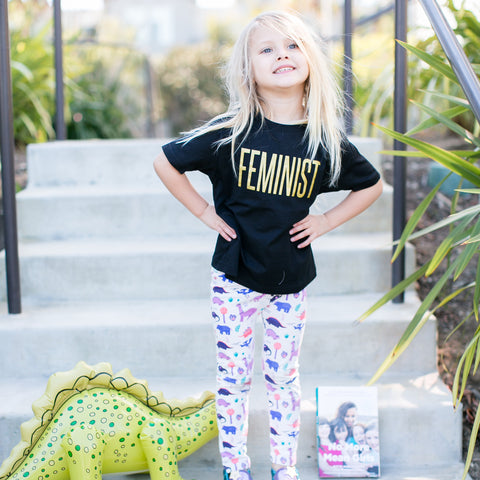 Rachel Pitzel, mom blogger and Instagram fashion influencer star, daughter kids children in Smarty Girl toddler girls leggings science STEM clothing clothes