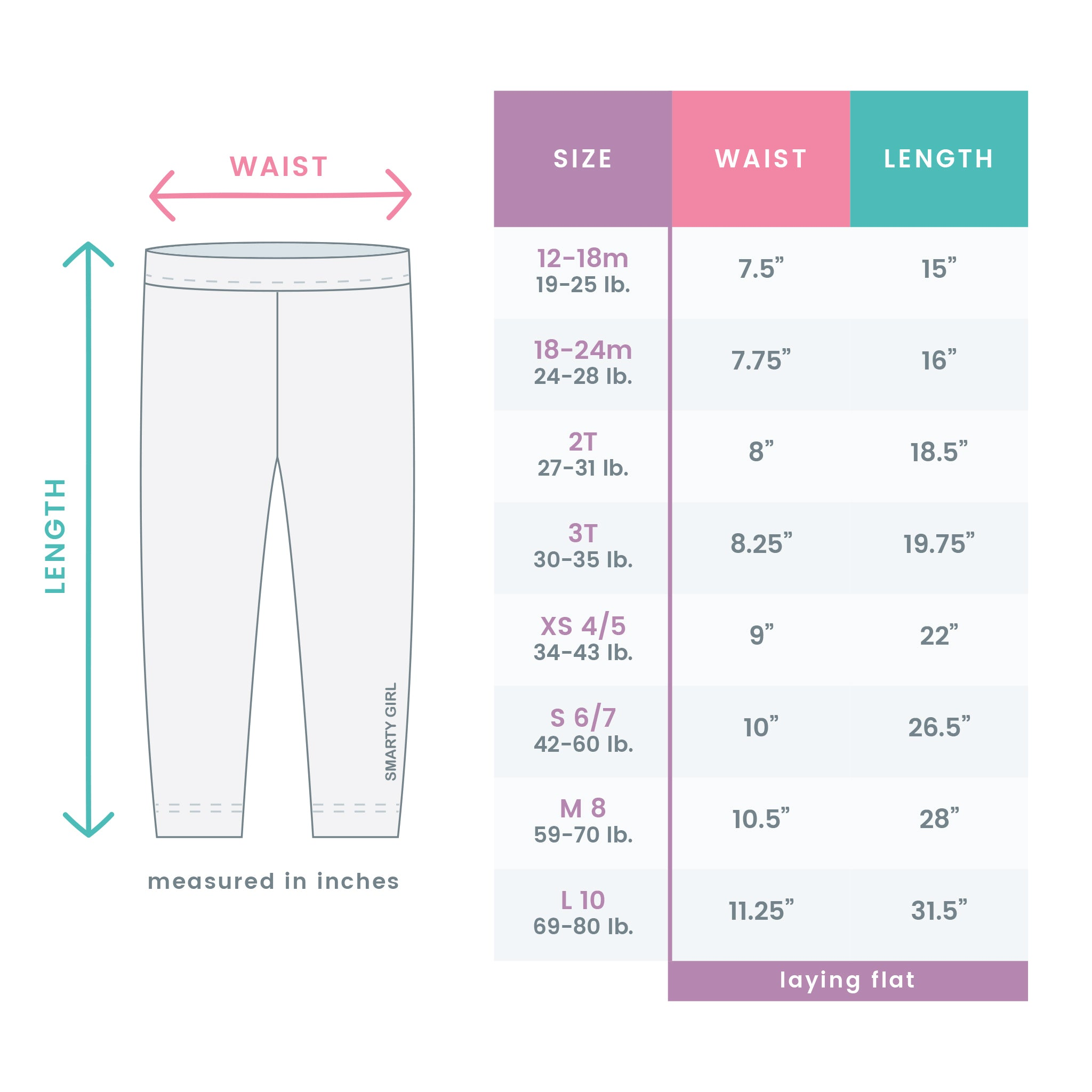 Smarty Girl Size Chart | Leggings that Empower Girls to Explore STEM
