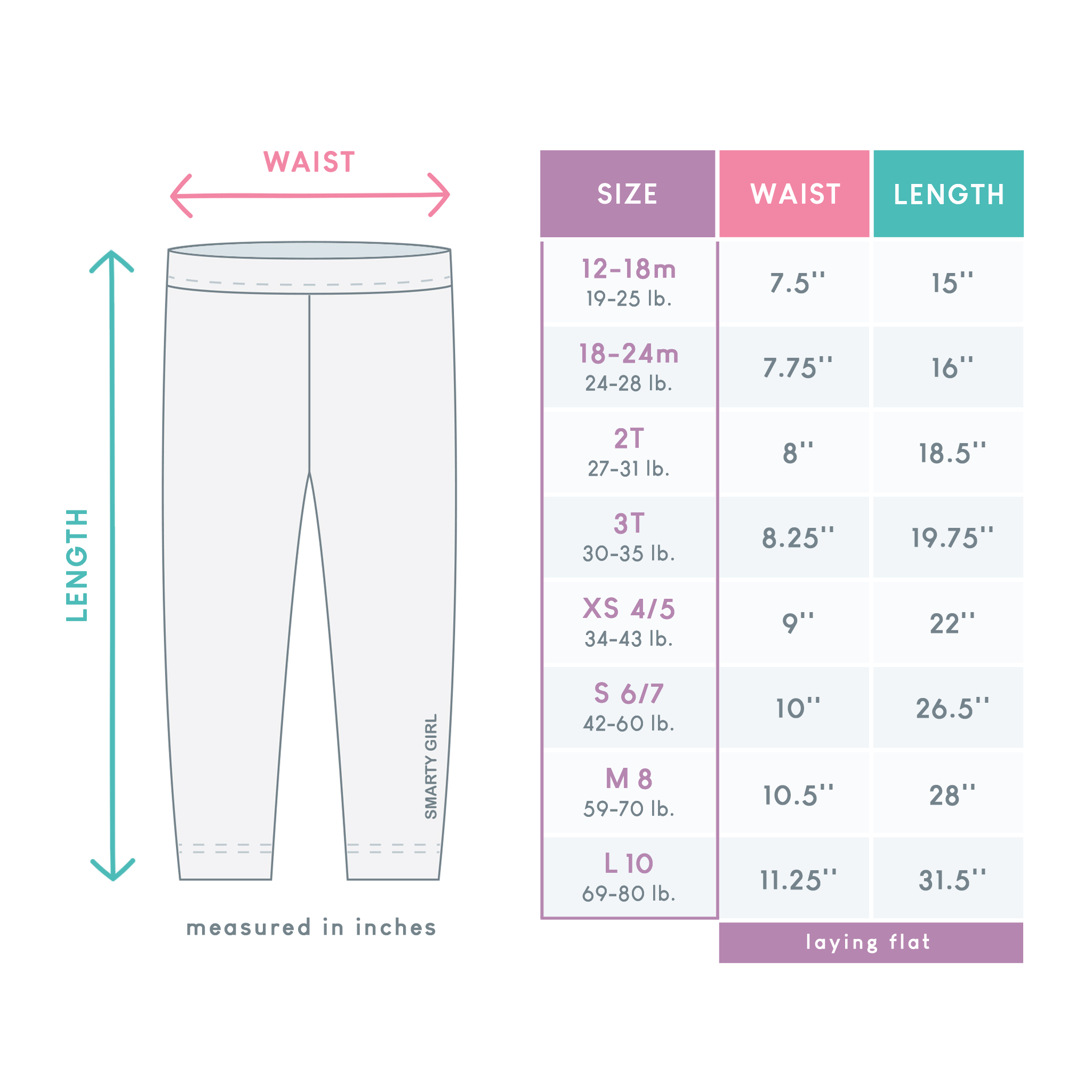 Smarty Girl leggings size chart sizes guide measurements science clothes for girls STEM clothing space pants astronaut astronauts sloth sloths narwhal narwhals whale whales robot robots shirt dress kids childrens child toddler birthday kid party theme gift costume smart geek nerd nerdy apparel geeky female empowerment brand line company baby