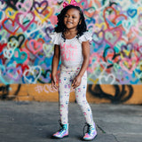 Girls robot clothes girl robots clothing leggings pants robotics Smarty Girl toddler code scientist coding programming science STEM clothes pima cotton Peru Peruvian girly engineering technology smart geek nerd pink purple BFF baby kids children child kid
