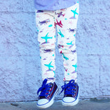 Airplane aviation pilot leggings for toddler girls by Smarty Girl