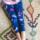 Girls astronaut leggings outer space Smarty Girl clothing science STEM clothes pima cotton Peru girly pants planet galaxy star rocket rocketship spaceship NASA smart geek nerd pink purple