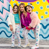 "Smarty Girl organic toddler girls leggings with vibrant ""boyish"" STEM science prints"