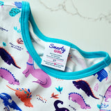 Dinosaur clothes for girls dinosaurs twirl dress with pockets girl clothing twirly pocket dresses science stem paleontology girly pink purple kids pants toddler shirt t-shirt birthday dino party theme gift baby children's child infant nerd geek nerdy geeky ethical fashion brand style scientist smart smarty pima cotton Peru outfit apparel Kansas company mom-owned circle skirt ballet scoop turquoise back sewn-in label design graphic branding logo skater