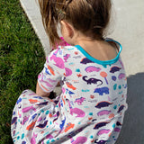 Dinosaur clothes for girls dinosaurs twirl dress with pockets girl clothing twirly pocket dresses science stem paleontology girly pink purple kids pants toddler shirt t-shirt birthday dino party theme gift baby children's child infant nerd geek nerdy geeky ethical fashion brand style scientist smart smarty pima cotton Peru outfit apparel Kansas company mom-owned circle skirt ballet scoop turquoise back skater neckline contrast design