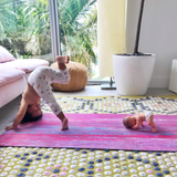 Sarah Kate, Miami Florida crunchy green mom blogger influencer, daughter Luna kids yoga in Smarty Girl organic insect leggings toddler girls science STEM clothes clothing