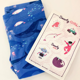 Girls narwhal leggings narwhals clothing whale Smarty Girl whales science STEM clothes pima cotton Peru girly pants ocean sea marine biology smart geek nerd pink purple