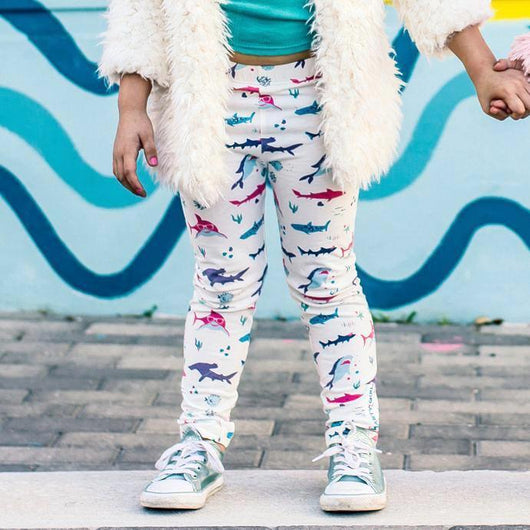45803ccdb ... Shark clothes girly sharks clothing for girls Smarty Girl leggings pink  purple science STEM smart geek ...
