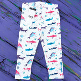 Girly shark leggings for toddler girls by Smarty Girl