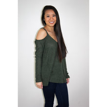 Olive green waffle textured sweater with off the shoulder sleeves