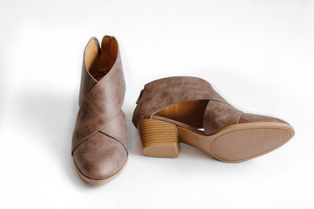 Logan Cross Strap Booties - Westwynd Boutique