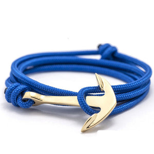 ShopiHub Blue-Gold Alloy Anchor Bracelet