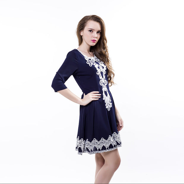 ShopiHub Blue/White Elegance Lady Dress