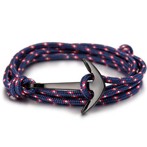 ShopiHub BlueRedStripes Alloy Anchor Bracelet