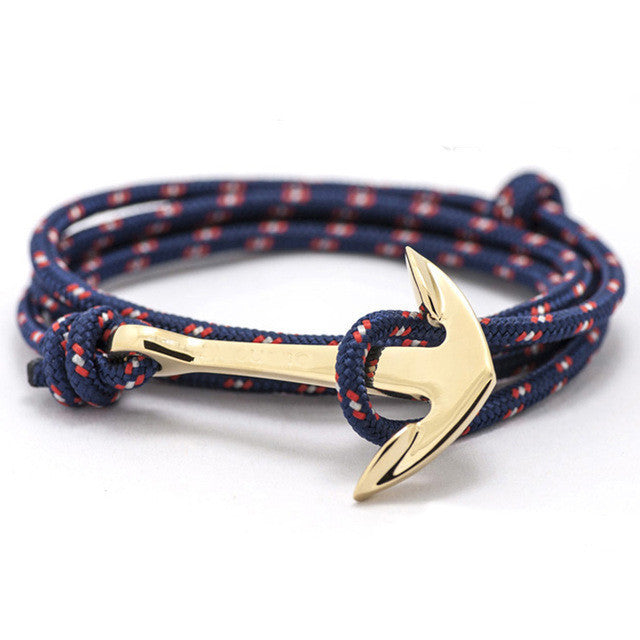 ShopiHub BlueStripes-Gold Alloy Anchor Bracelet